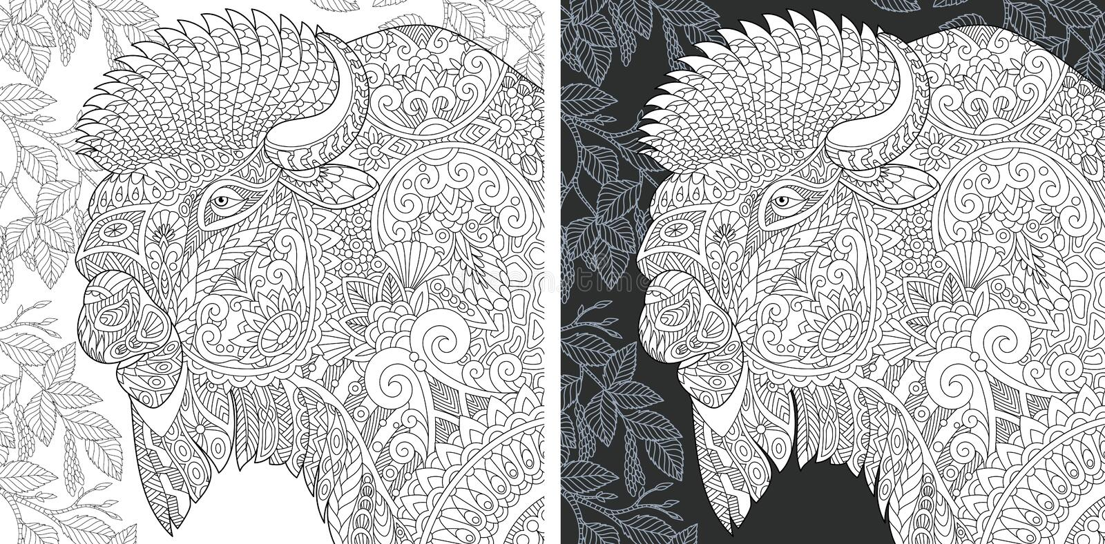 Coloring page with bison. Coloring Page. Coloring Book. Colouring picture with Bison drawn in zentangle style. Antistress freehand sketch drawing. Vector royalty free illustration