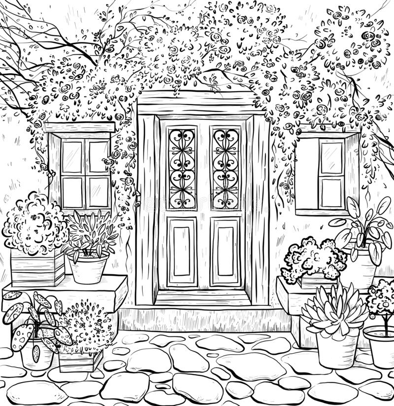 Coloring Page Book Adult Coloring With Rural Exterior Stock Illustration Illustration Of Architecture Drawing 177367771
