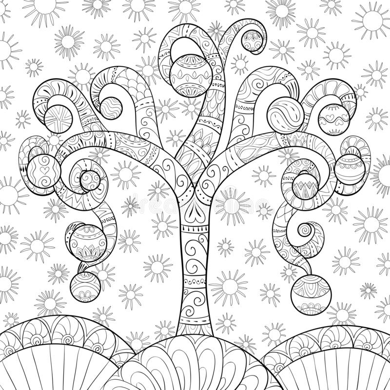 A coloring page,book for adults and children,a cute Christmas fir tree for print. A Christmas fir tree with decoration balls on the background with snowflakes stock illustration