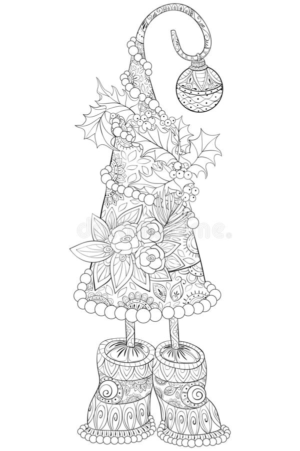 A coloring page,book for adults and children,a cute Christmas fir tree for print. A Christmas fir tree with decoration balls with snowflakes for children and vector illustration