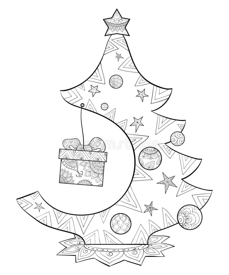 A coloring page,book for adults and children,a cute Christmas fir tree for print. A Christmas fir tree with decoration balls with gift box for children and royalty free illustration