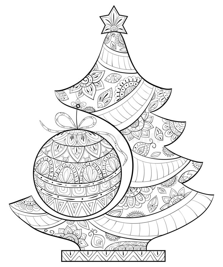 A coloring page,book for adults and children,a cute Christmas fir tree for print. A Christmas fir tree with decoration balls for adults.Zen art style vector illustration