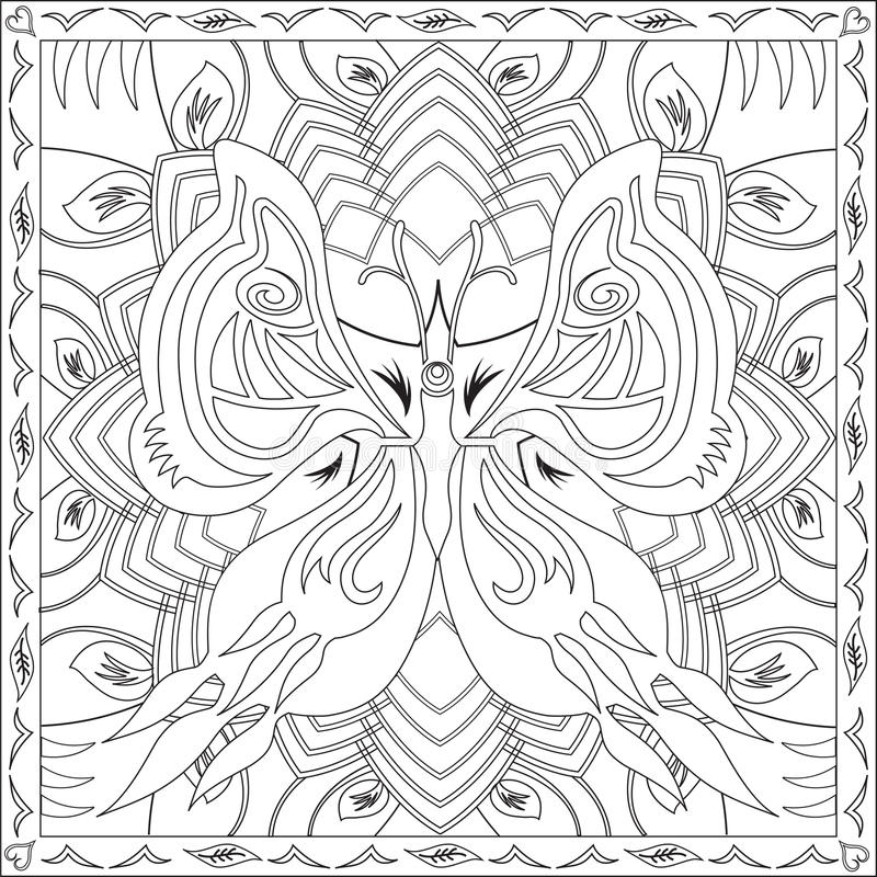 Coloring Page Book for Adults Square Format Butterfly Foliage Design Vector Illustration. Coloring Page Book with Blank Spaces for Adults - Butterfly Foliage vector illustration