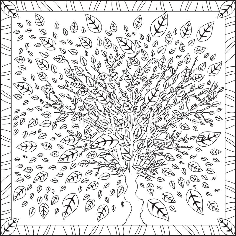 tree with leaves coloring coloring page book for adults square format tree leaves foliage