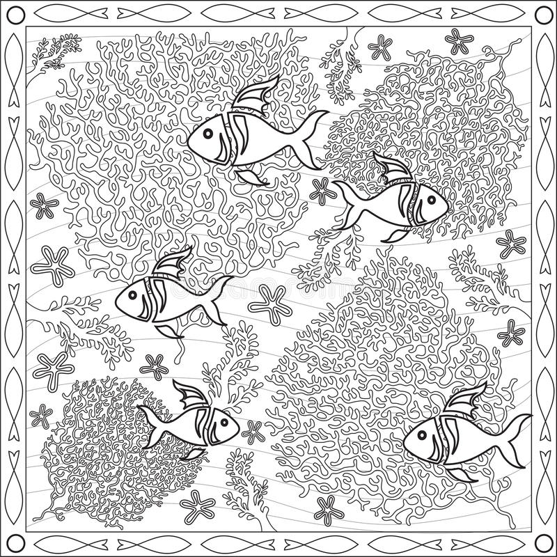 Coloring Page Book for Adults Square Format Coral Fish Underwater Design Vector Illustration. Coloring Page Book with Blank Spaces for Adults - Coral Fish stock illustration