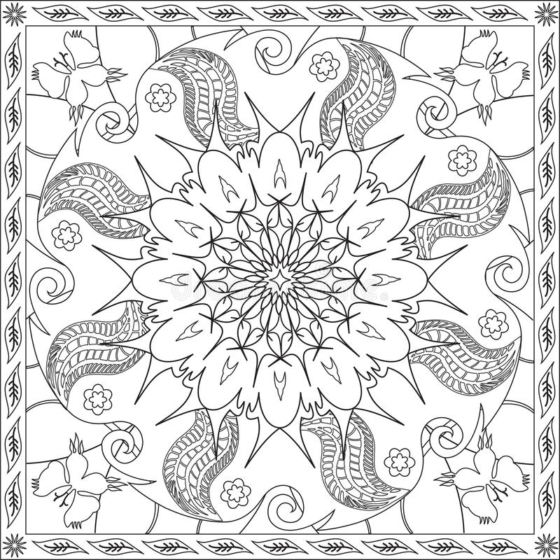 Coloring Page Book For Adults Square Format Floral Mandala Butterfly ...