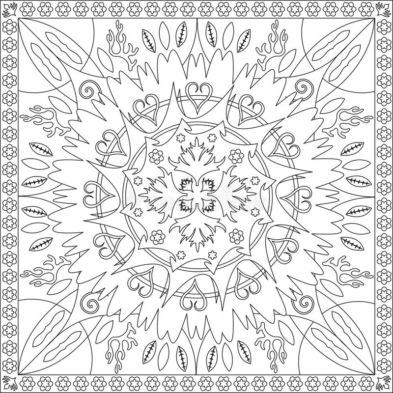 coloring page book for adults square format floral mandala design