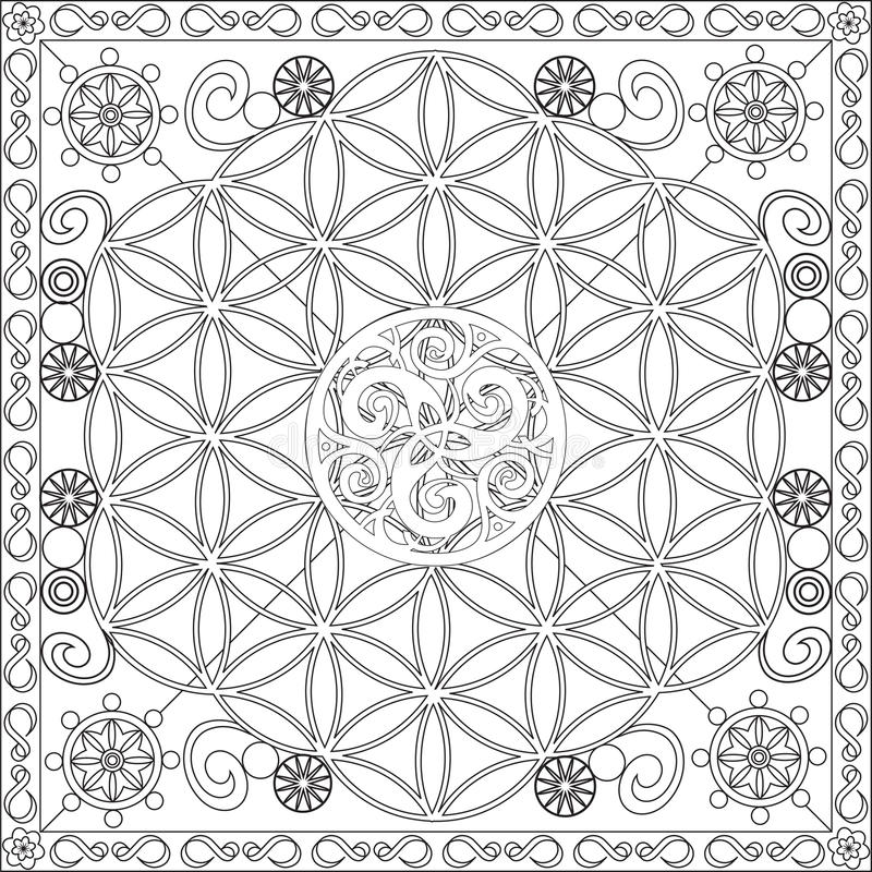 Download Coloring Page Book For Adults Square Format Flower Of Life Mandala Design Vector Illustration Stock