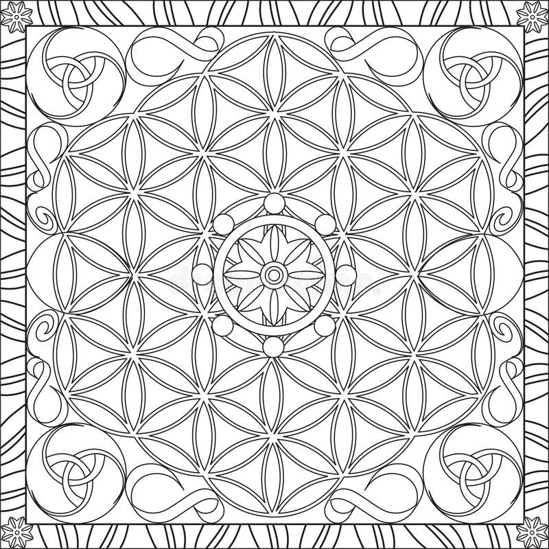 Coloring Page Book For Adults Square Format Flower Of Life