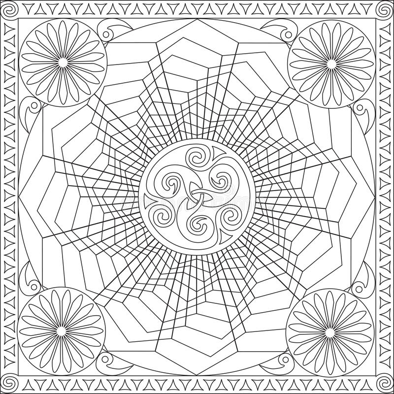 Coloring Page Book For Adults Square Format Geometric