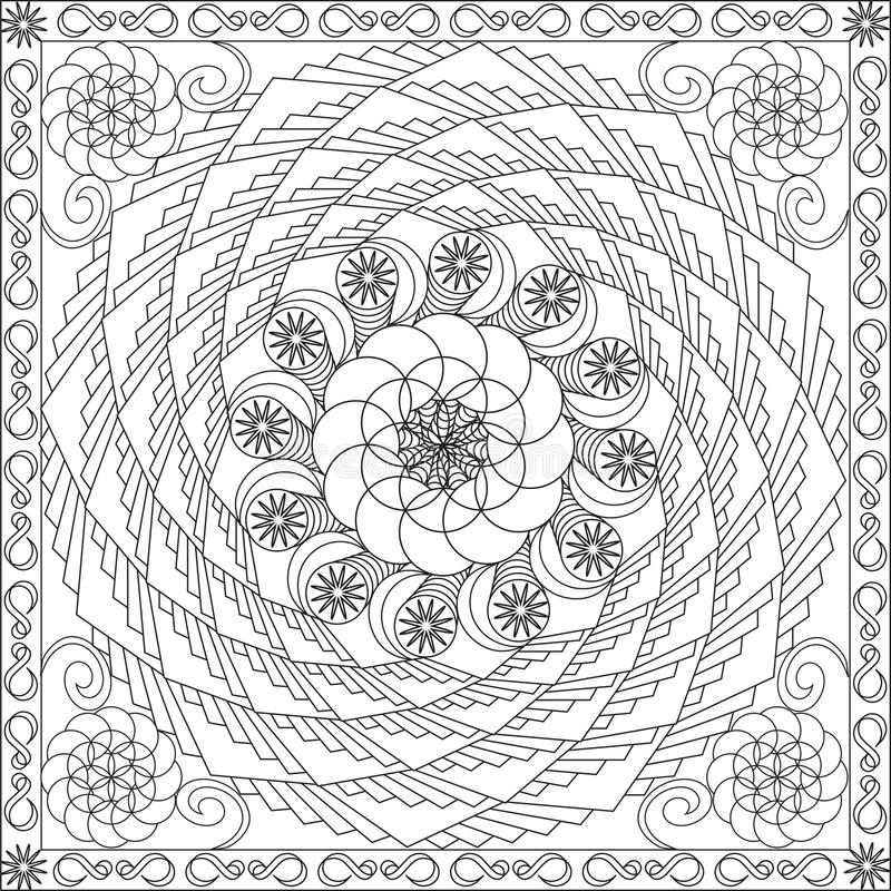Coloring Page Book For Adults Square Format Geometric Spiral Flower ...