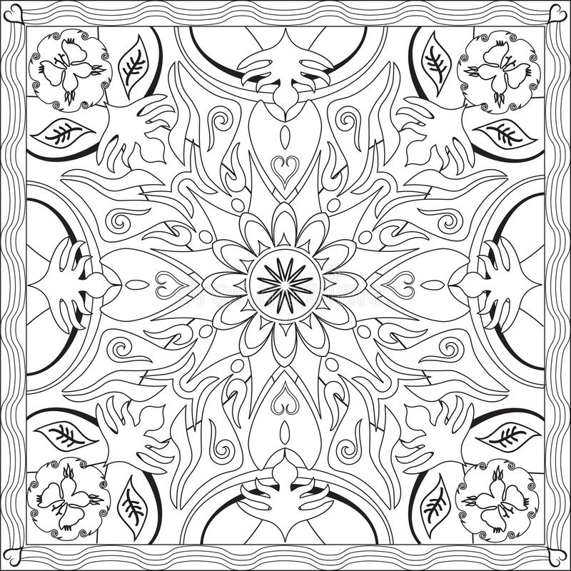 Coloring Page Book for Adults Square Format Mandala Flower Design Vector Illustration. Coloring Page Book with Blank Spaces for Adults - Mandala Flower Design stock illustration