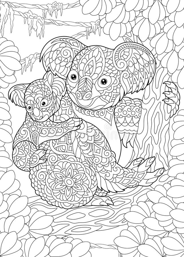 Zentangle koala bears royalty free illustration