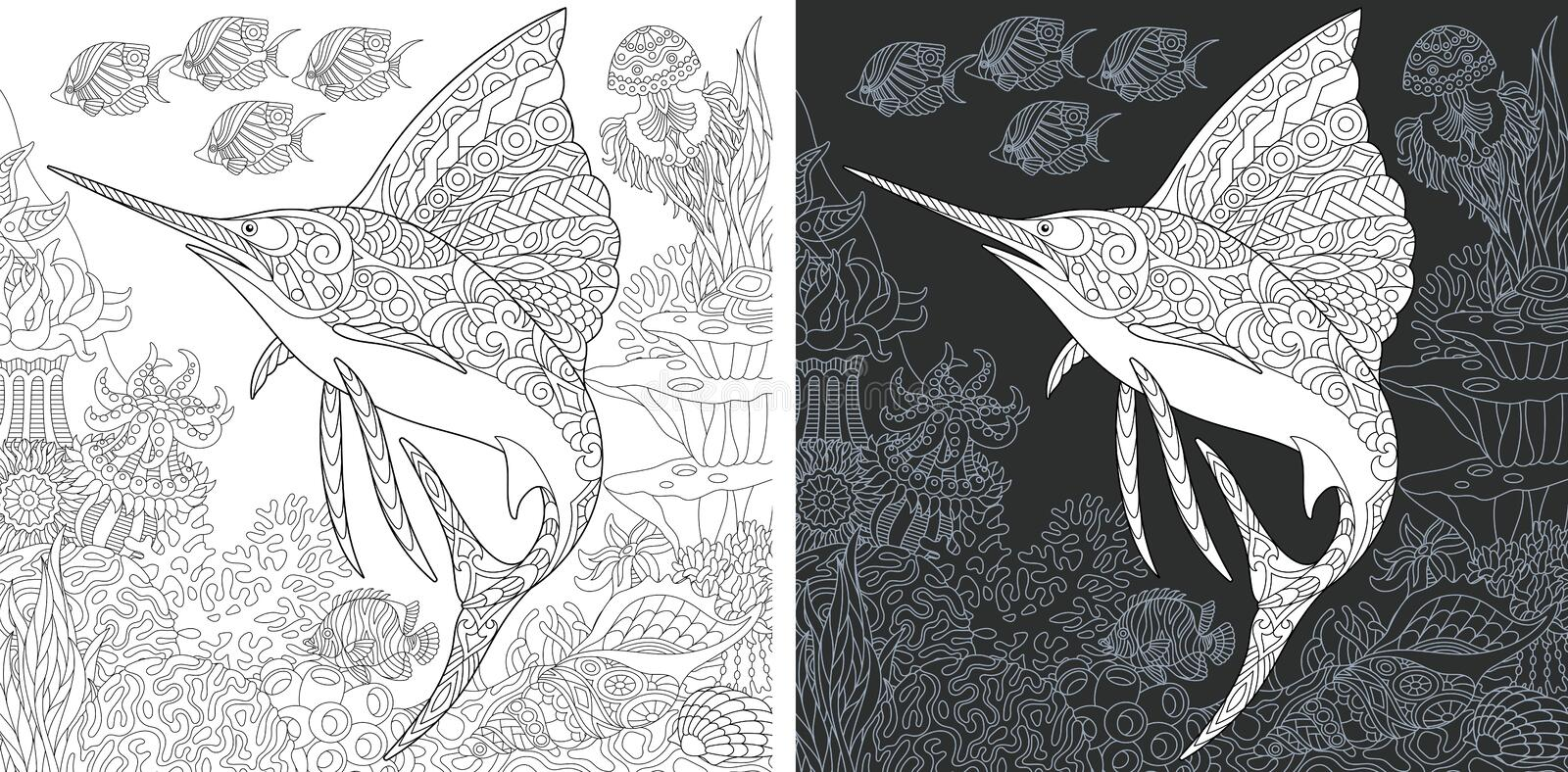 Coloring pages with Sailfish royalty free stock photography