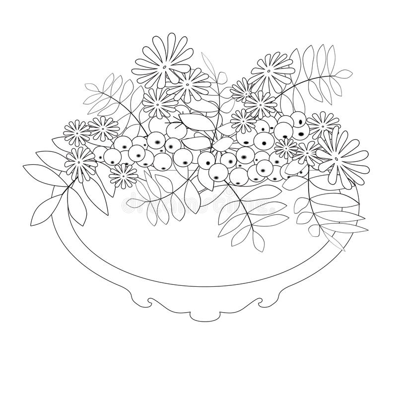 Coloring page book with decorative floral ornamental elements il royalty free illustration