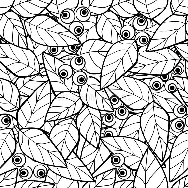 Coloring page book with decorative ornamental abstract berry elements black and white vector illustration
