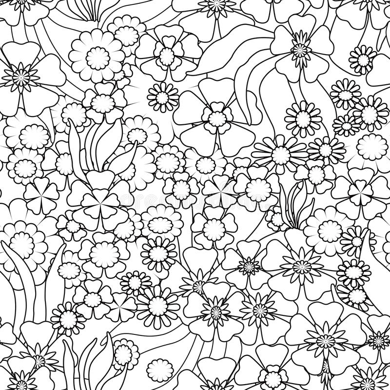 Coloring page book with decorative ornamental floral black and w stock illustration