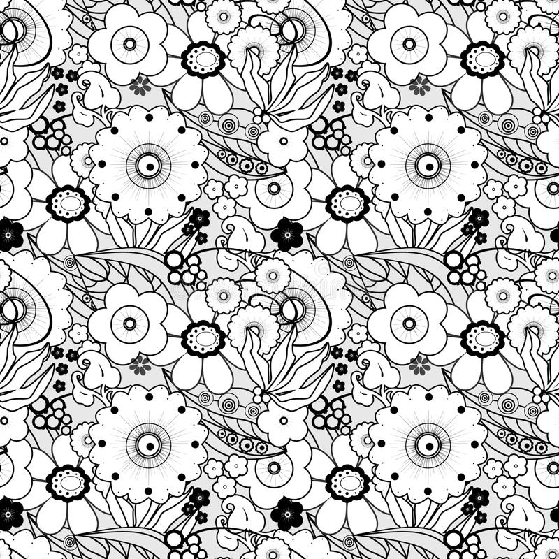 Coloring page book with decorative seamless ornamental elements vector illustration