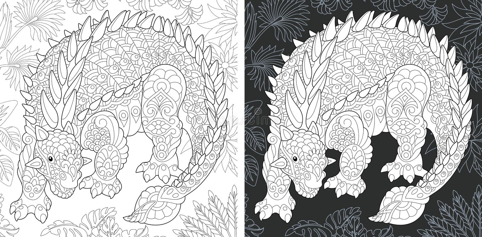 Coloring pages with Ankylosaurus royalty free stock photography