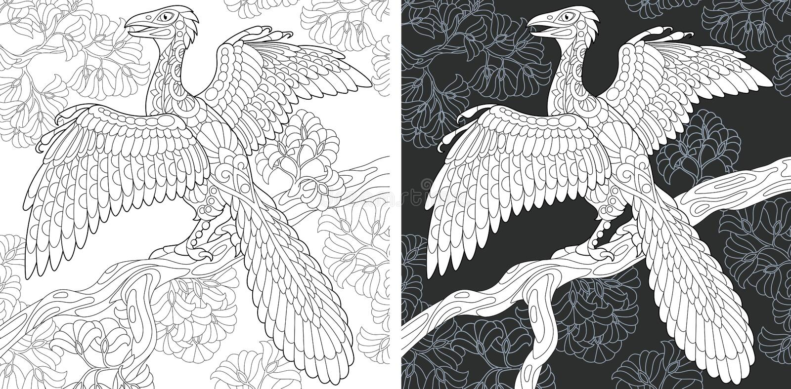 Coloring pages with Archeopteryx stock image