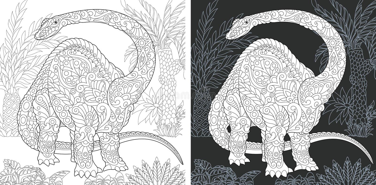Coloring pages with Brontosaurus stock illustration