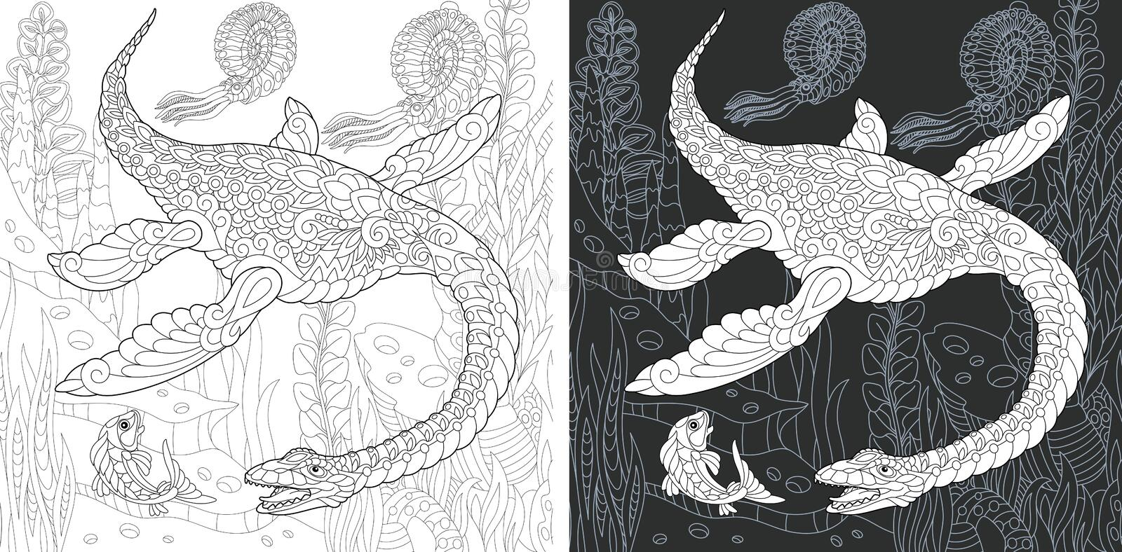 Coloring pages with Plesiosaurus royalty free stock images