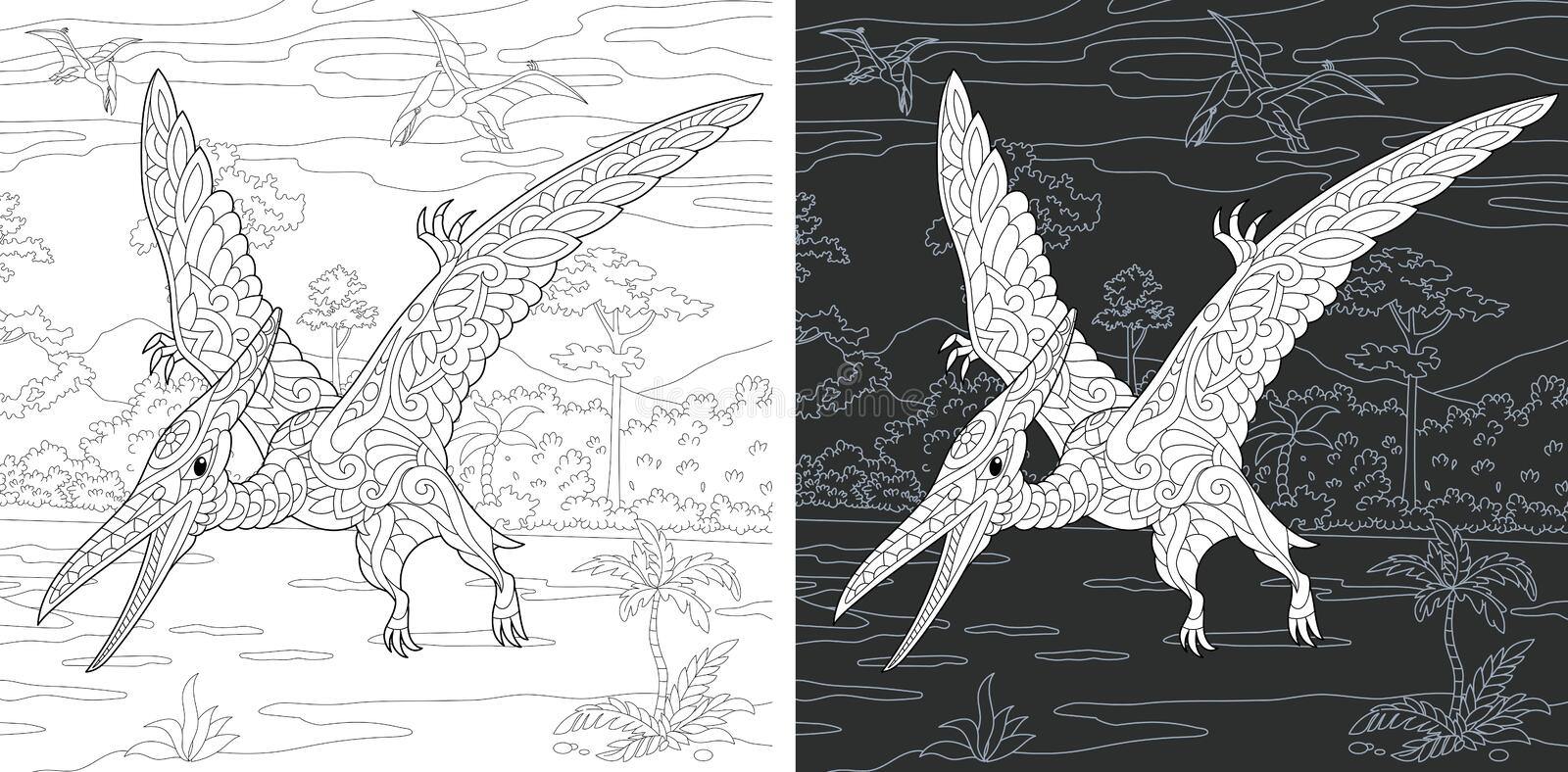 Coloring pages with Pterodactyl stock image
