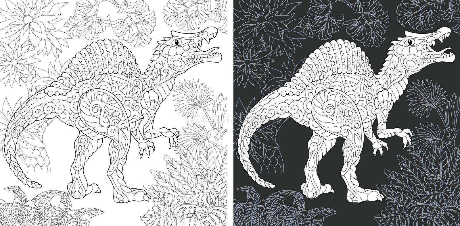 Coloring pages with Spinosaurus stock photography