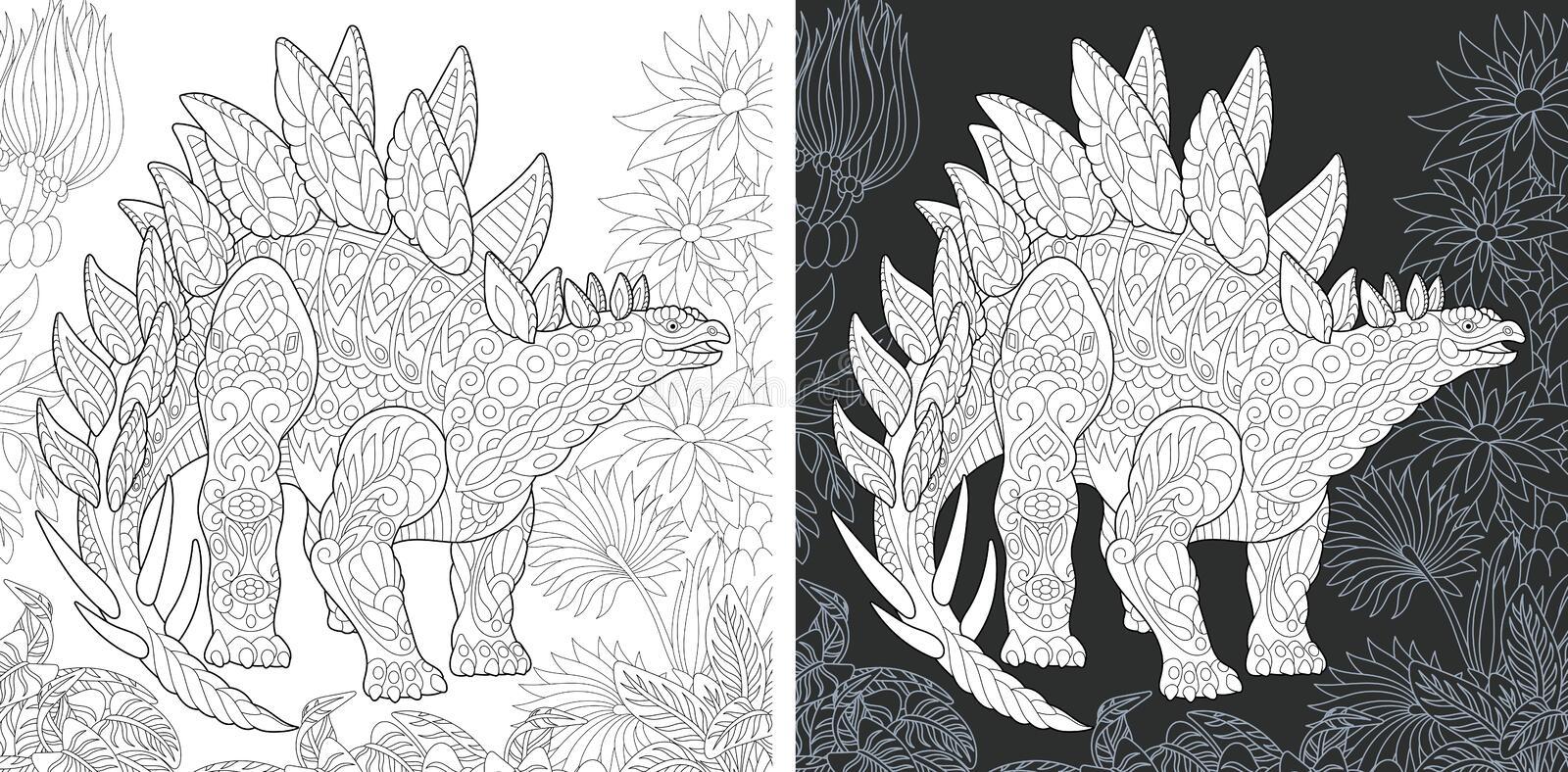 Coloring pages with Stegosaurus stock photo