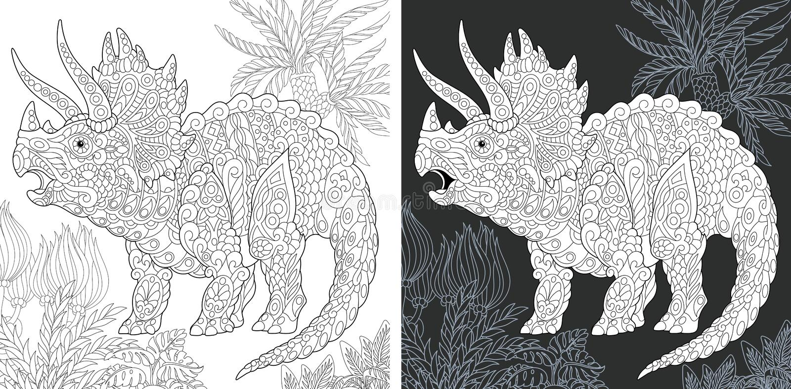 Coloring pages with Triceratops royalty free stock image
