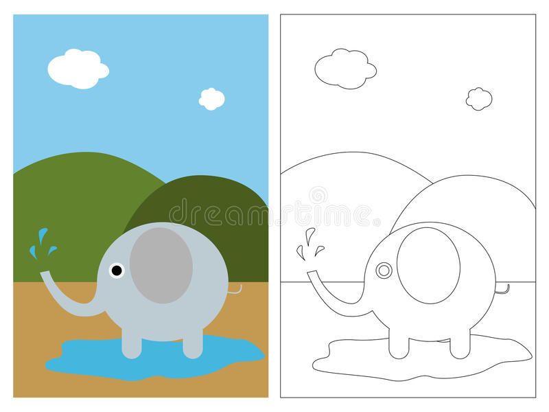 Coloring page book - elephant royalty free illustration