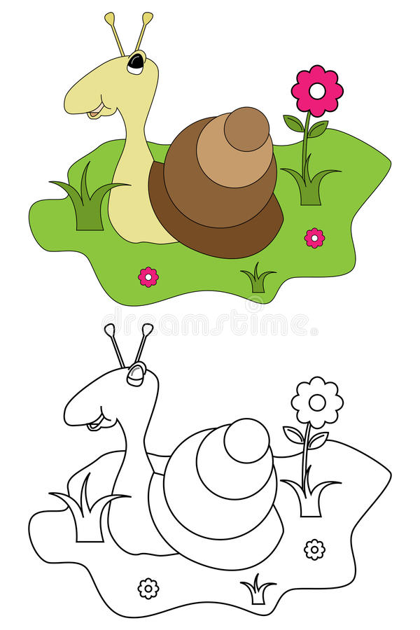 Free Coloring Page Book For Kids - Snail Royalty Free Stock Images - 14476709
