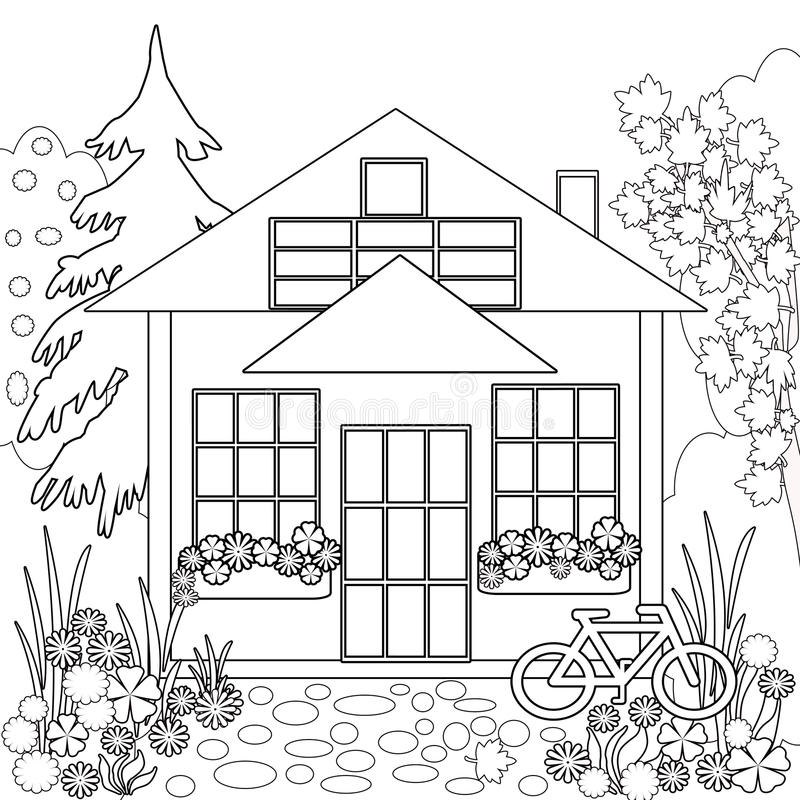 Download Coloring Page Book. Garden Floral Illustration Black And White  Stock Illustration   Illustration Of