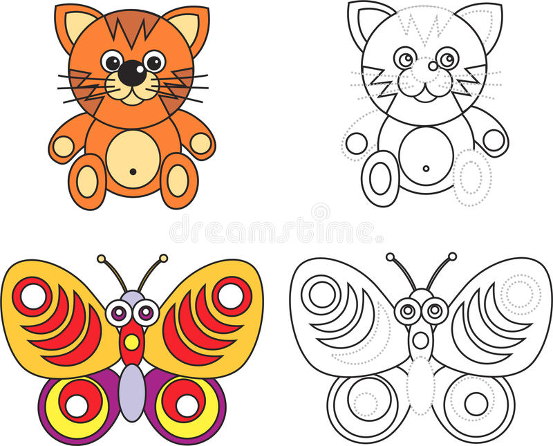 Coloring page book for kids - cat and butterfly vector illustration