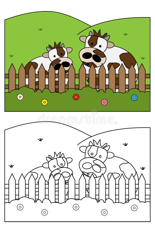 Coloring page book for kids - cow stock illustration