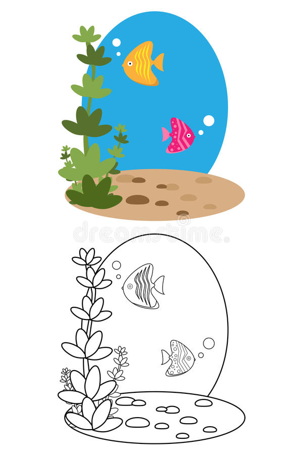 Coloring page book for kids - fish stock illustration