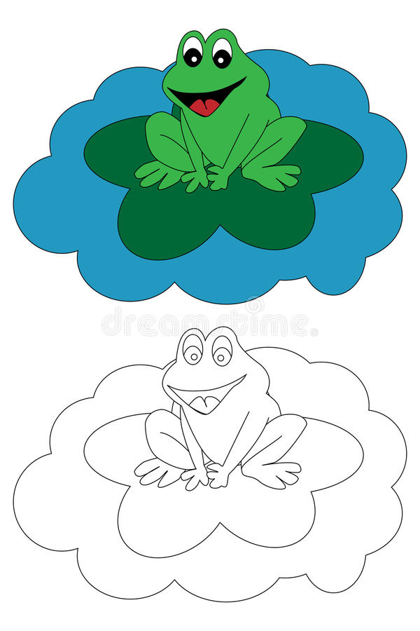 Coloring page book for kids - frog stock illustration