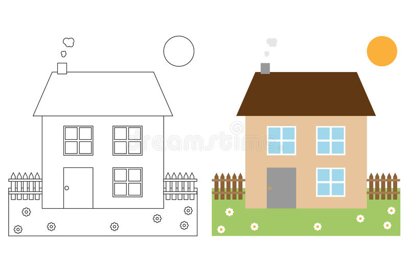 Coloring Page Book For Kids - House Stock Vector - Illustration of ...