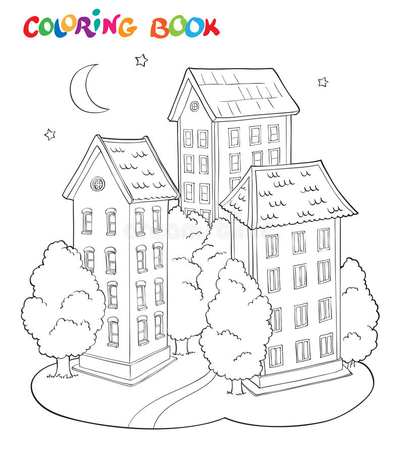 Coloring page book for kids - house with trees and moon. royalty free illustration