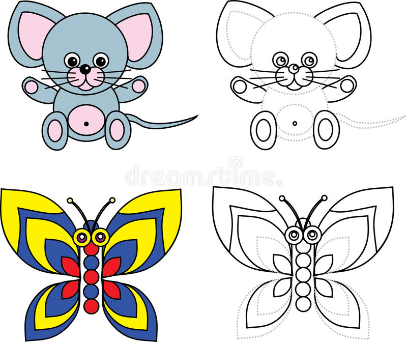 Coloring page book for kids - mouse and butterfly royalty free illustration