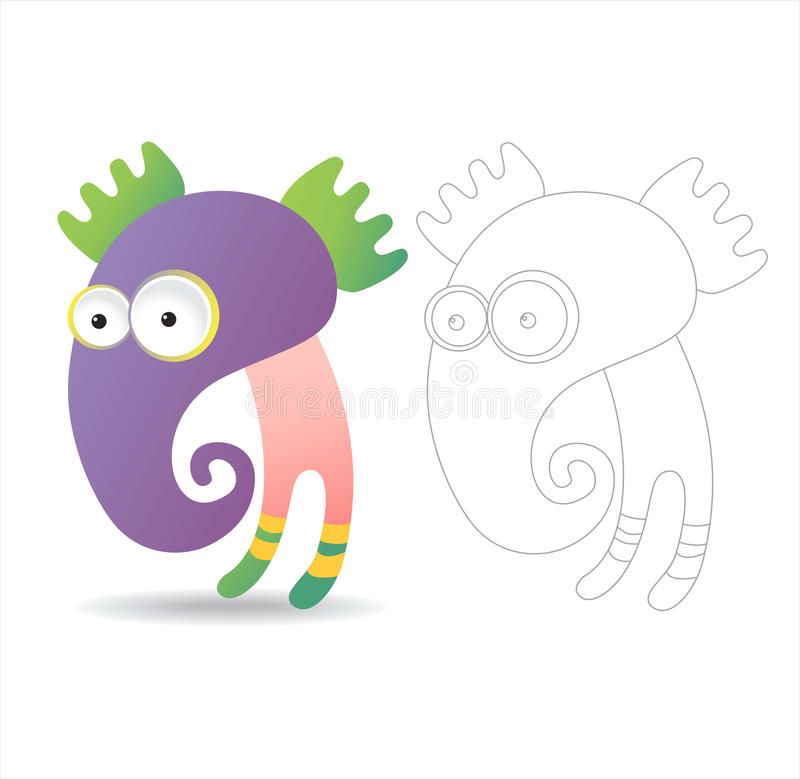 Coloring page book for kids - pretty monsters vector illustration