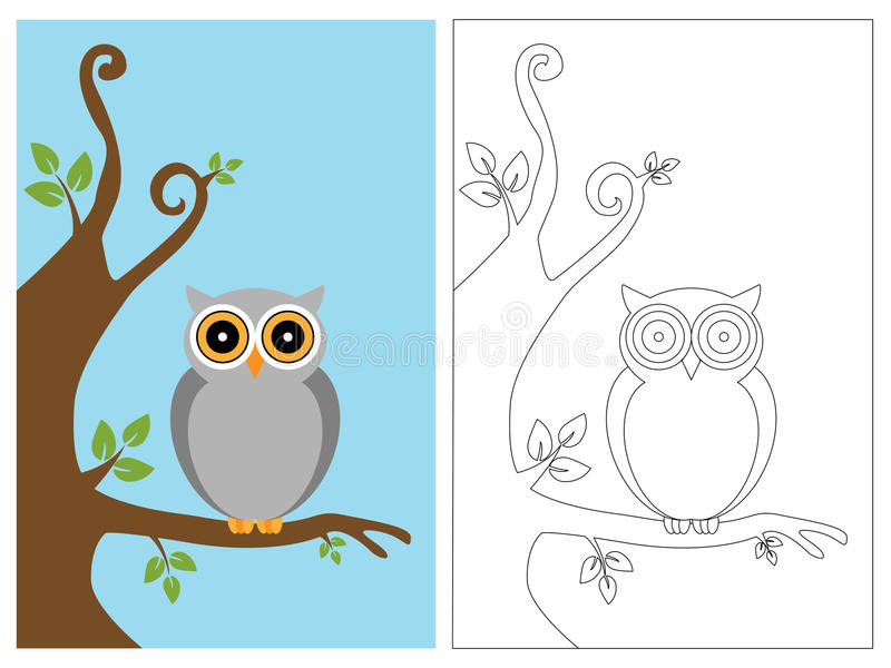 Coloring page book - owl. Cartoon illustration of a owl, color and black and white versions, useful as coloring book for kids.EPS file avaliable