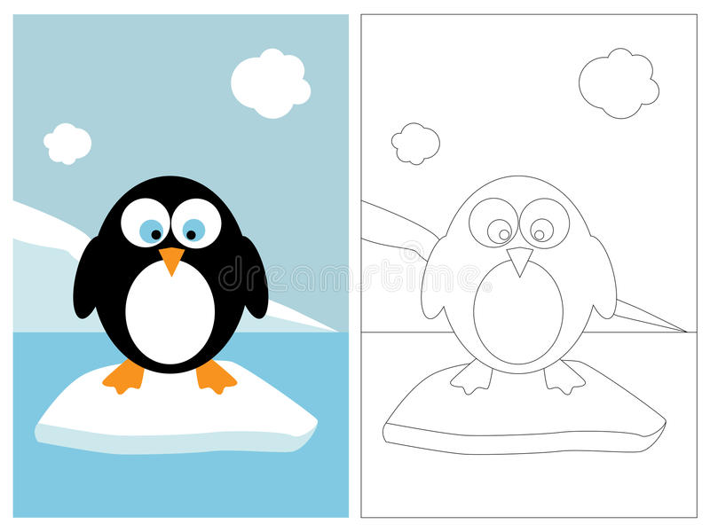 Coloring page book - penguin stock illustration