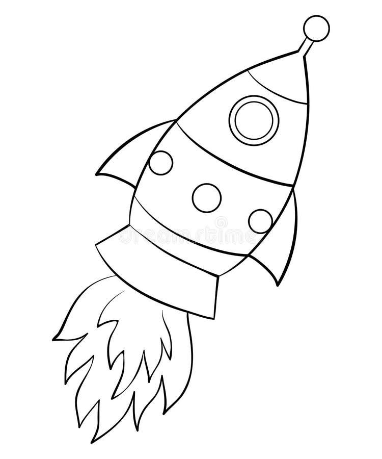 coloring page book rocket image children line art style illustration cartoon rocket image children line art style