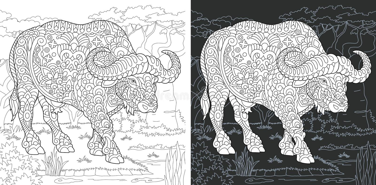 Coloring page with buffalo. Coloring Page. Coloring Book. Colouring picture with Buffalo drawn in zentangle style. Antistress freehand sketch drawing. Vector stock illustration