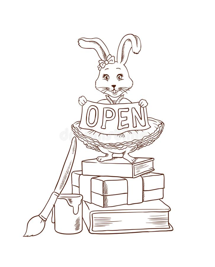 Coloring page with bunny or cute rabbit standing with ribbon with place for short inscription like `hello`, `sign in`, `open. Bunny, cute rabbit in dress vector illustration