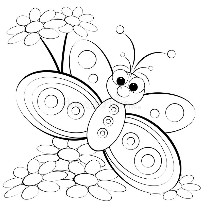 Coloring page - Butterfly and daisy vector illustration