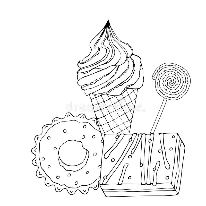 coloring page cake ice cream cupcake candy other dessert sweet book vector isolated