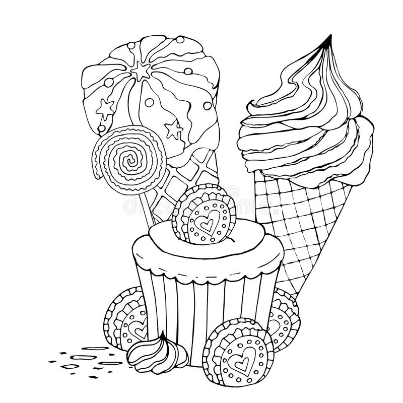 coloring page with cake cupcake and