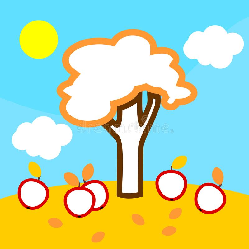 Coloring page. Cartoon autumn landscape with apple tree with fruits. Blue sky, white clouds and yellow sun stock illustration